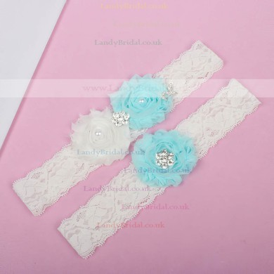 Lace Garters with Rhinestone/Imitation Pearls/Flower #LDB03090012