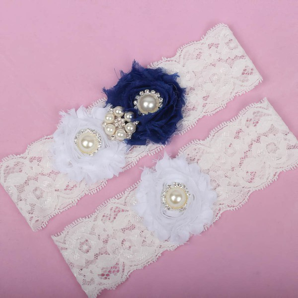 Lace Garters with Imitation Pearls/Flower/Crystal #LDB03090013