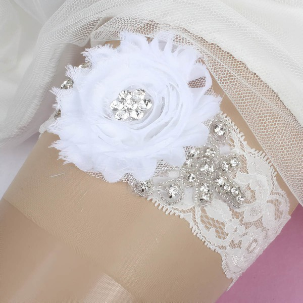 Lace Garters with Flower/Crystal