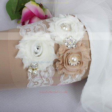 Lace Garters with Rhinestone/Imitation Pearls/Flower #LDB03090017