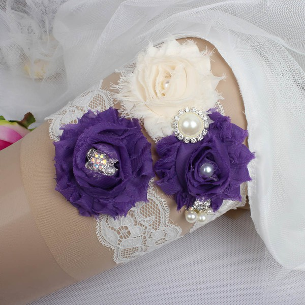 Lace Garters with Imitation Pearls/Flower/Crystal #LDB03090019