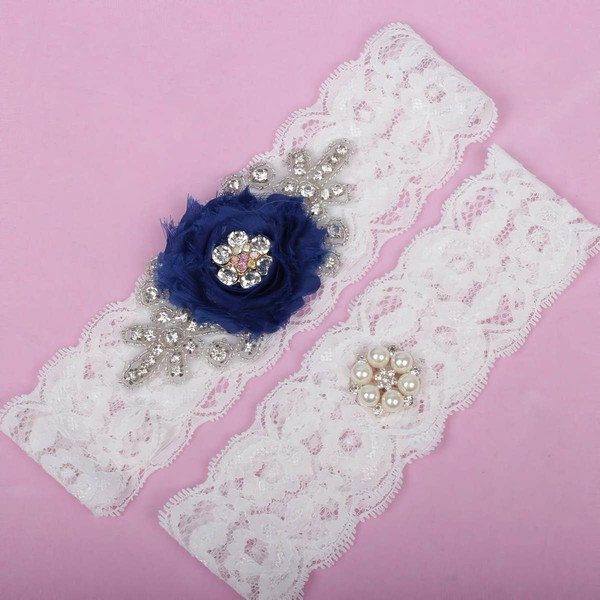 Lace Garters with Imitation Pearls/Flower/Crystal #LDB03090022