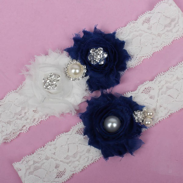 Lace Garters with Imitation Pearls/Flower/Crystal #LDB03090025
