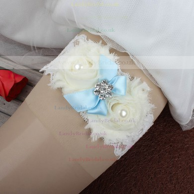 Lace Garters with Bowknot/Imitation Pearls/Flower/Crystal #LDB03090026