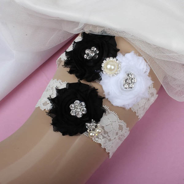 Lace Garters with Imitation Pearls/Flower/Crystal #LDB03090027