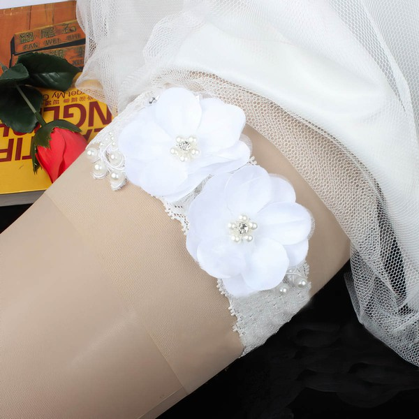 Lace Garters with Imitation Pearls/Flower #LDB03090028