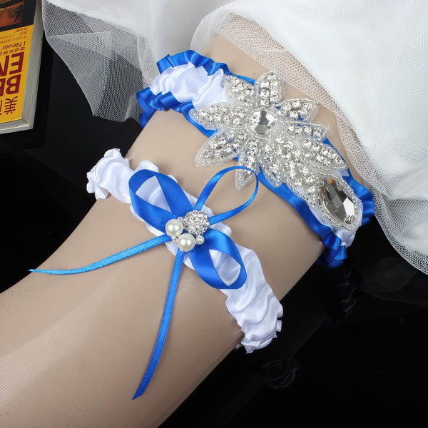 Satin Garters with Rhinestone/Bowknot/Imitation Pearls #LDB03090029