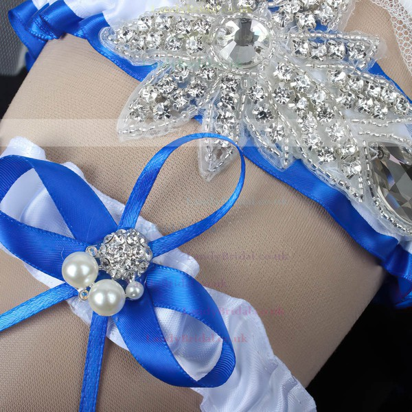 Satin Garters with Rhinestone/Bowknot/Imitation Pearls