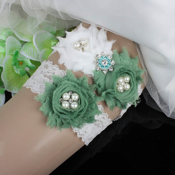 Lace Garters with Imitation Pearls/Flower/Crystal #LDB03090031