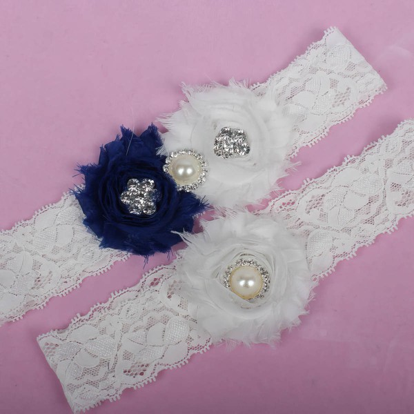 Lace Garters with Imitation Pearls/Flower/Crystal #LDB03090035