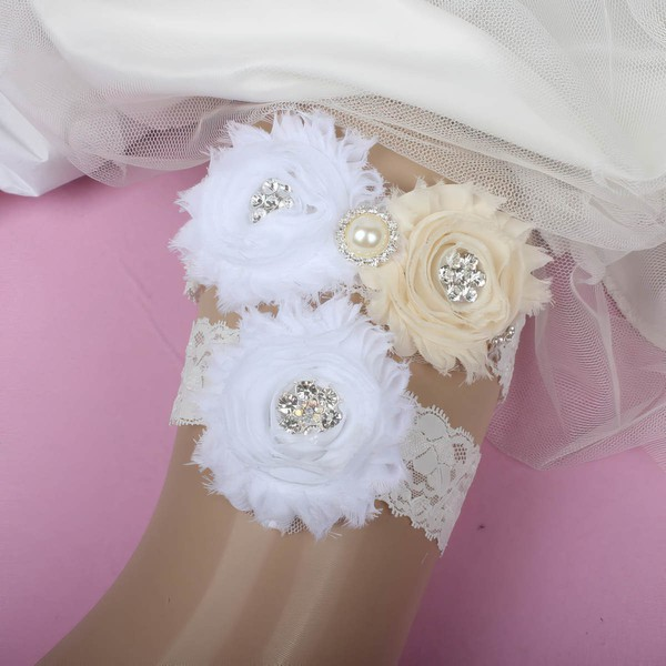 Lace Garters with Flower/Pearl/Crystal #LDB03090037