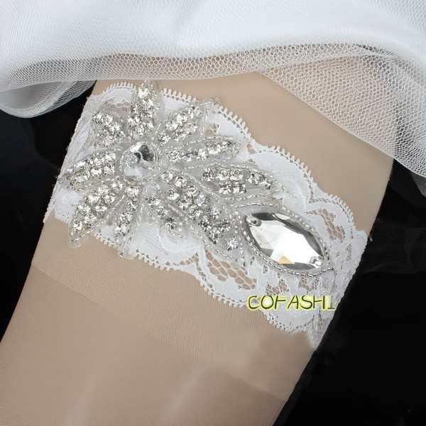 Lace Garters with Crystal/Rhinestone