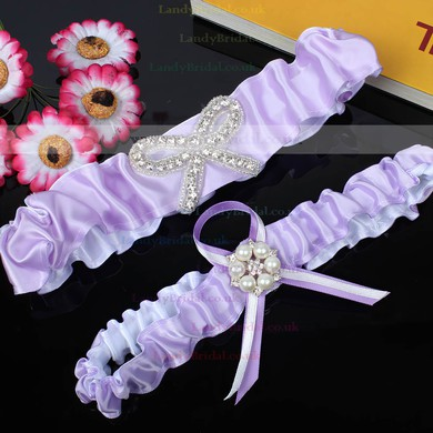 Satin Garters with Bowknot/Imitation Pearls/Crystal #LDB03090040