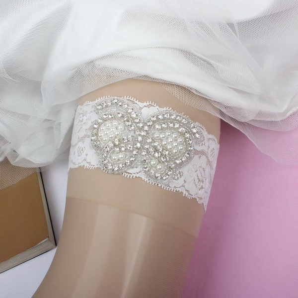 Lace Garters with Pearl/Crystal #LDB03090042