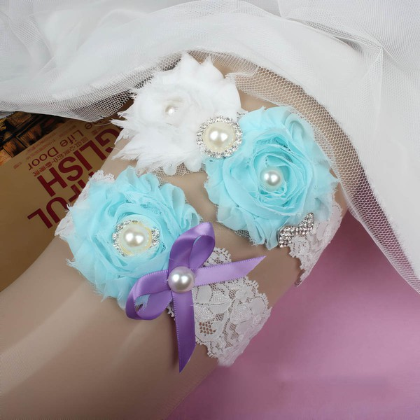 Lace Garters with Bowknot/Imitation Pearls/Flower/Crystal #LDB03090043