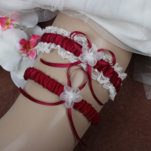 Polyester Garters with Lace/Bowknot/Imitation Pearls/Flower #LDB03090044
