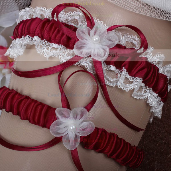 Polyester Garters with Lace/Bowknot/Imitation Pearls/Flower
