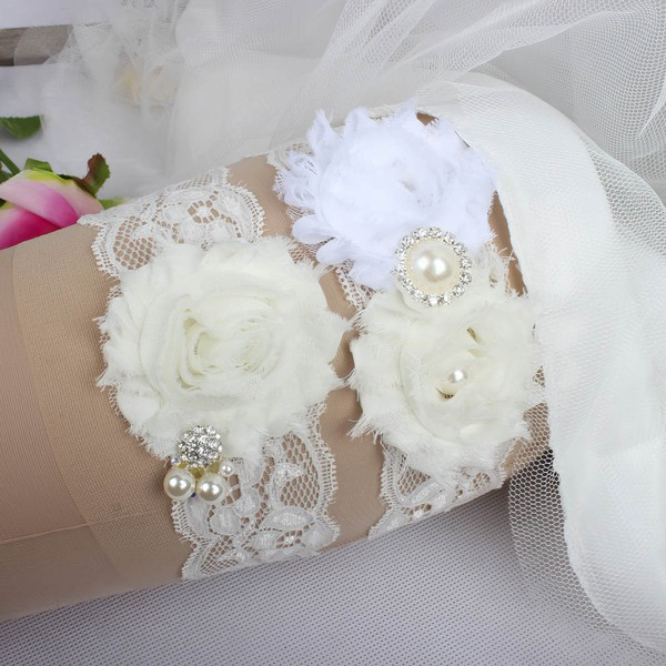 Lace Garters with Flower/Pearl/Crystal #LDB03090045