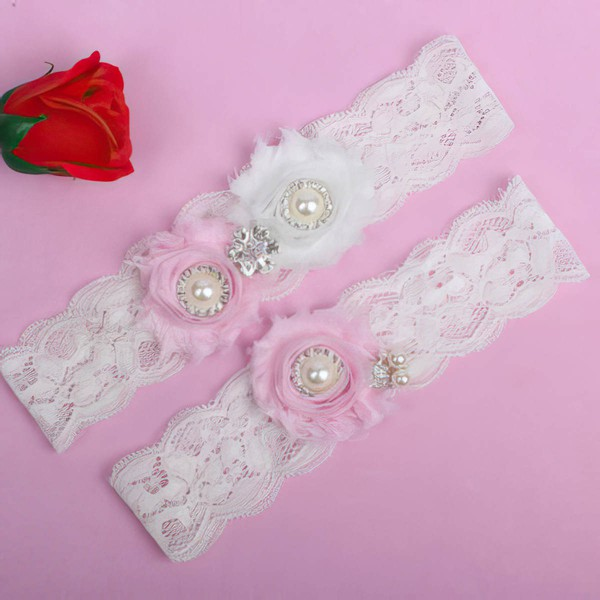 Lace Garters with Imitation Pearls/Flower/Crystal #LDB03090047
