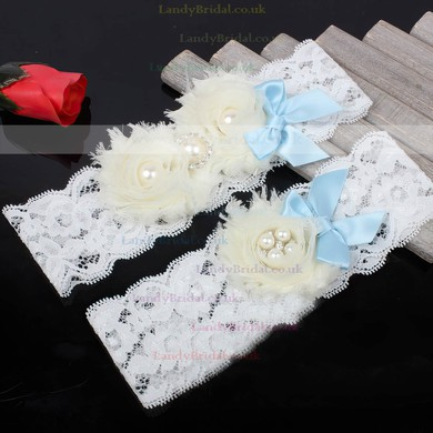 Lace Garters with Bowknot/Imitation Pearls/Flower/Crystal #LDB03090048