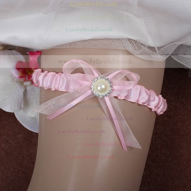 Ribbons Garter Skirt with Bowknot/Imitation Pearls/Crystal #LDB03090059