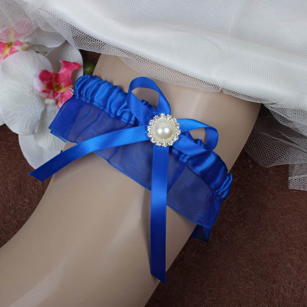 Ribbons Garter Skirt with Bowknot/Imitation Pearls/Crystal #LDB03090060