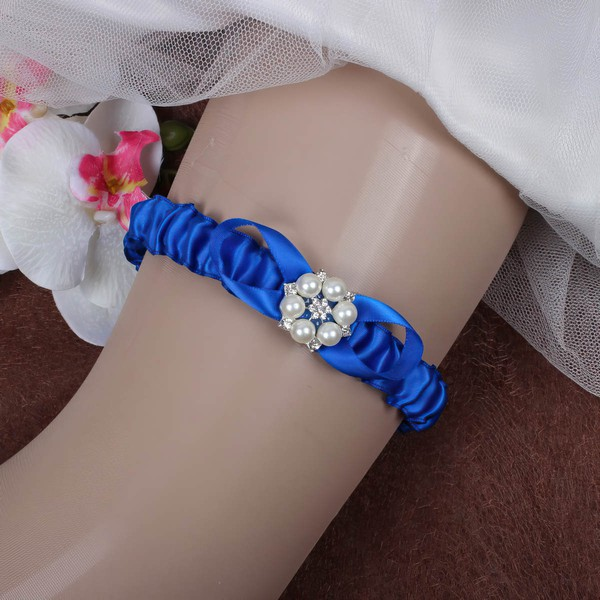 Satin Garters with Crystal/Imitation Pearls #LDB03090063