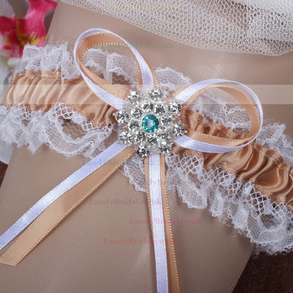 Satin Garters with Rhinestone/Bowknot