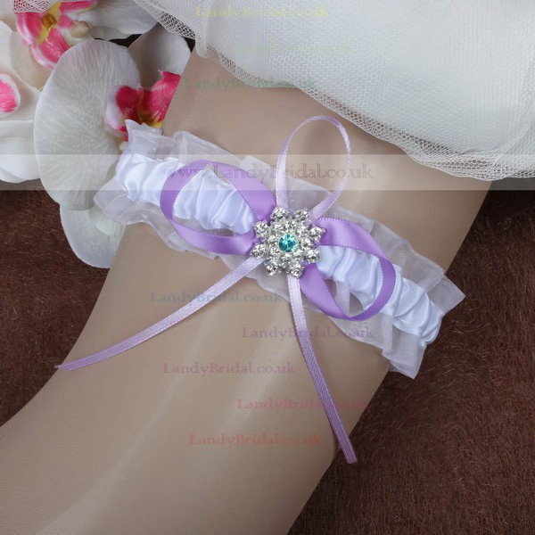 Satin Garters with Bowknot/Crystal