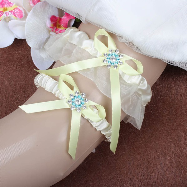 Satin Garter Skirt with Bowknot/Crystal