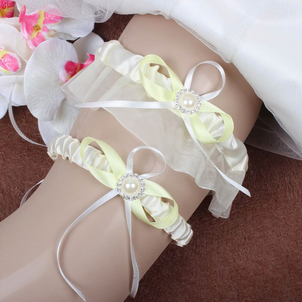 Satin Garter Skirt with Bowknot/Pearl/Crystal #LDB03090071