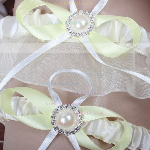 Satin Garter Skirt with Bowknot/Pearl/Crystal