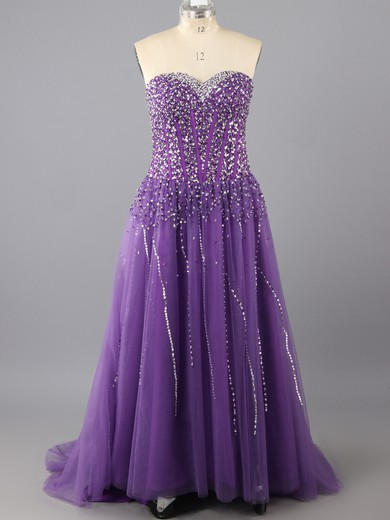 Sweep Train Lace-up Tulle with Beading Wholesale Sweetheart Grape Prom Dress #LDB02014889