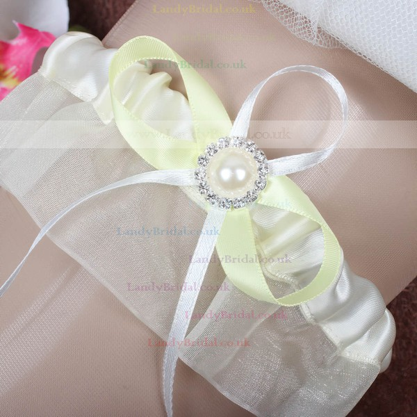 Satin Garter Skirt with Pearl/Crystal