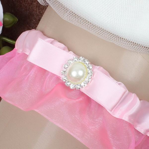 Satin Garter Skirt with Pearl/Crystal