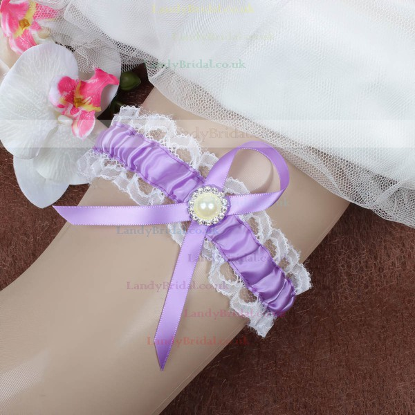 Satin Garters with Pearl/Crystal