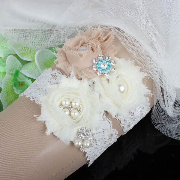 Lace Garters with Flower/Pearl/Crystal #LDB03090080