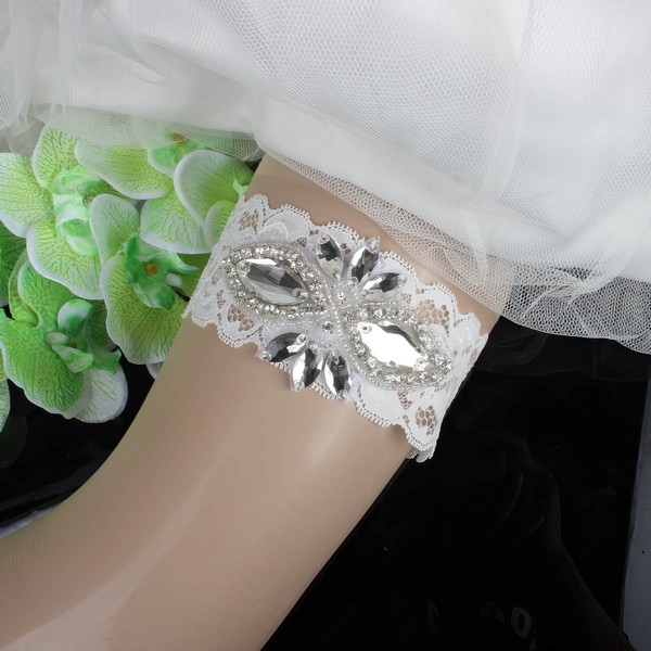 Lace Garters with Imitation Pearls/Crystal #LDB03090083