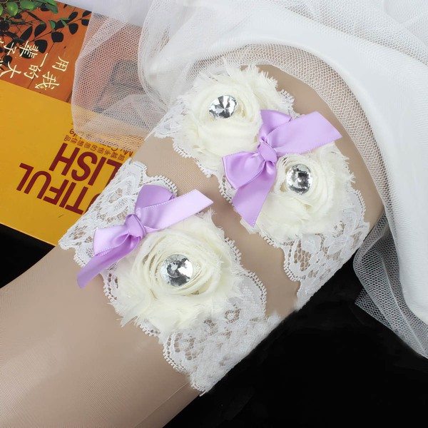 Lace Garters with Bowknot/Flower/Crystal #LDB03090085
