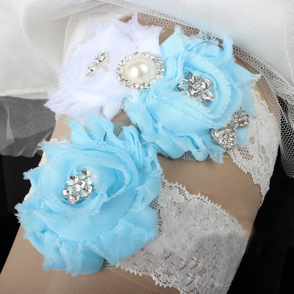 Lace Garters with Flower/Pearl/Crystal #LDB03090088