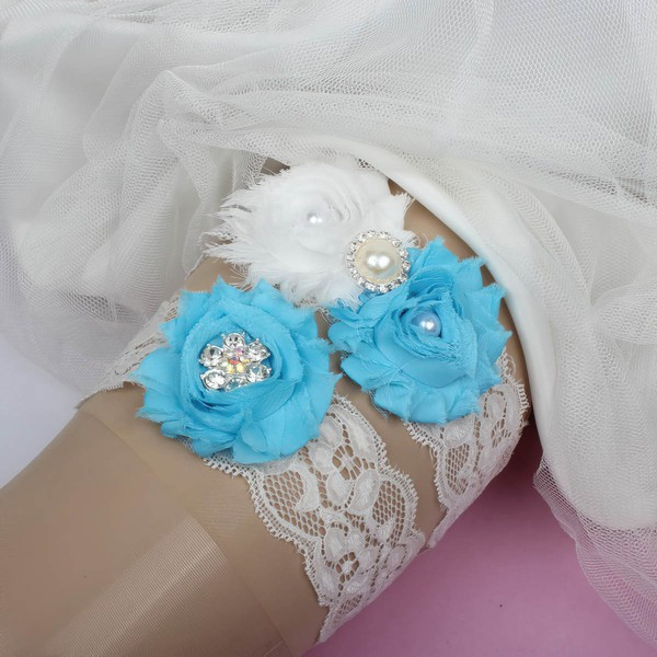 Lace Garters with Flower/Pearl/Crystal #LDB03090092