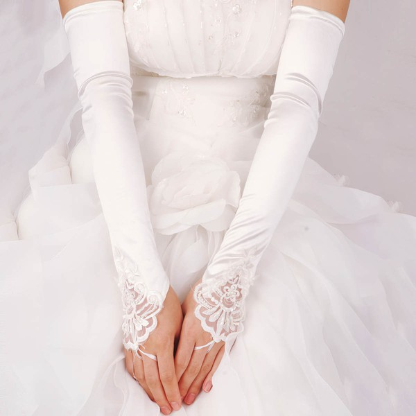 White Elastic Satin Opera Length Gloves with Beading/Sequins #LDB03120023