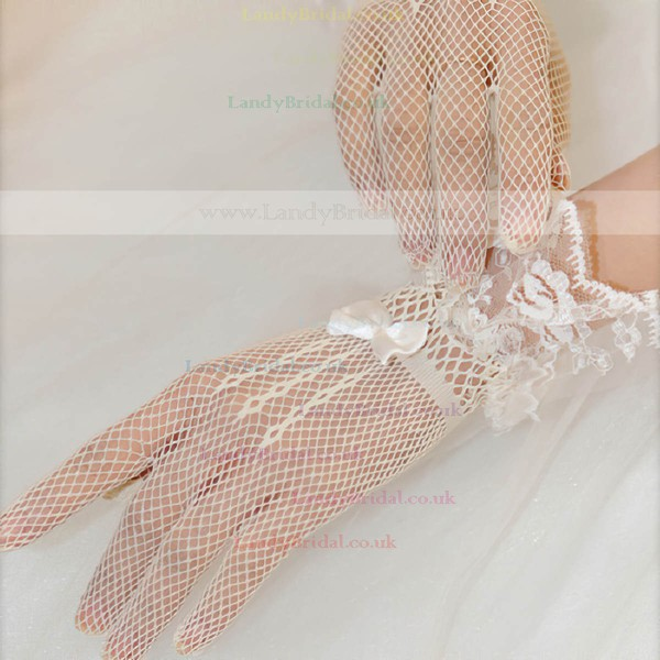 White Tulle Wrist Length Gloves with Bow