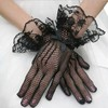 White Tulle Wrist Length Gloves with Bow #LDB03120024