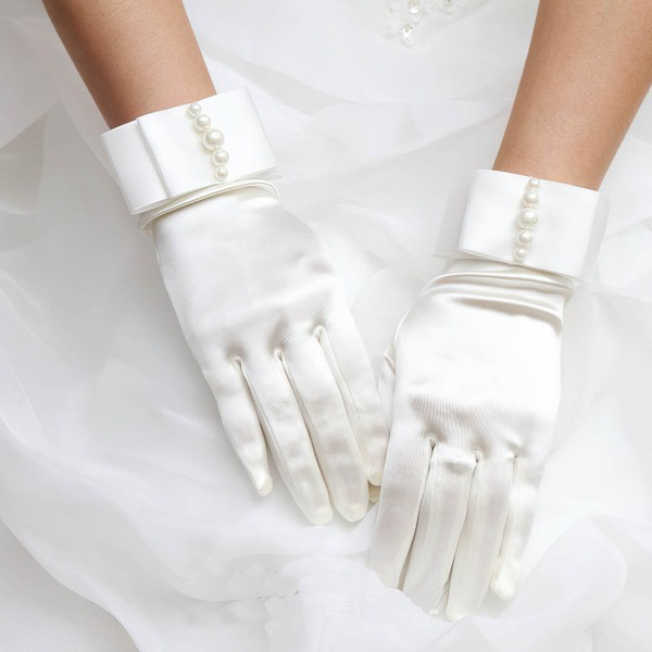 Ivory Satin Wrist Length Gloves with Pearls