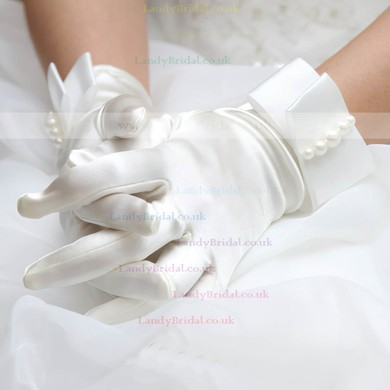 Ivory Satin Wrist Length Gloves with Pearls #LDB03120026
