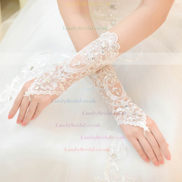 White Lace Wrist Length Gloves with Rhinestone