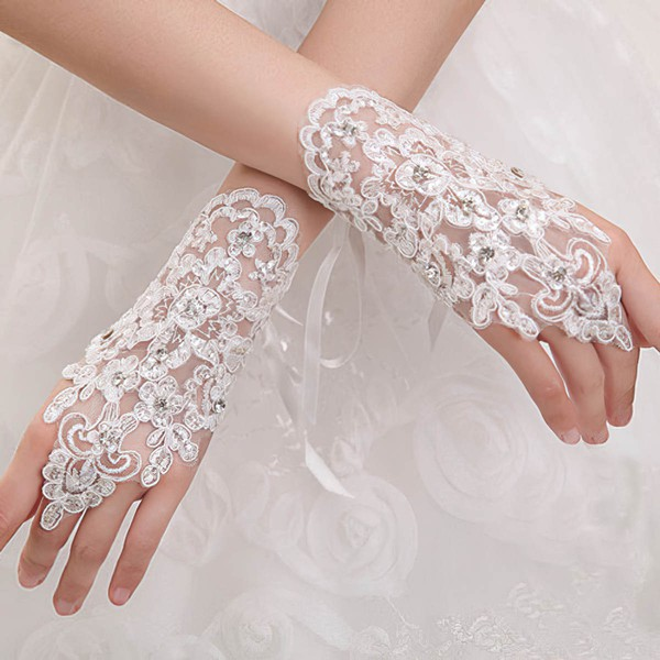 Ivory Lace Wrist Length Gloves with Beading