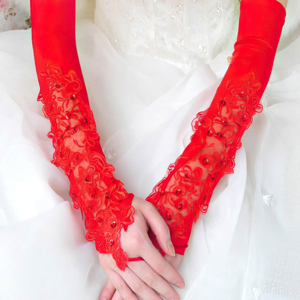White Elastic Satin Opera Length Gloves with Sequins #LDB03120029
