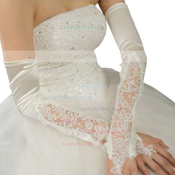 White Elastic Satin Opera Length Gloves with Sequins